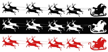 antlers silhouette: 3 different kind of colors of Santa sleigh and reindeers