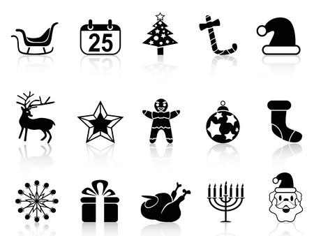 christmas turkey: isolated simple black christmas icons set from white background