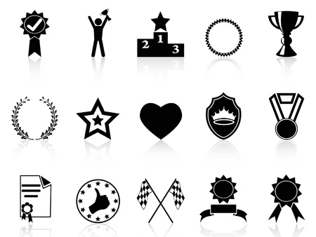victory winner: collection of black award icons on white background