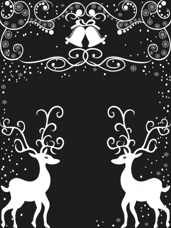old fashioned christmas: the background of reindeer with floral  Decoration for christmas