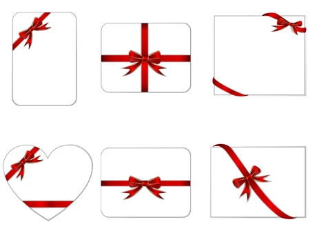 collection of cards with red gift bows and ribbons Vector