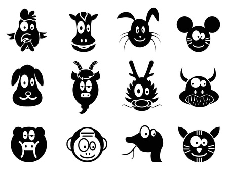 year of snake: cute cartoon 12 animals of chinese zodiac icons Illustration