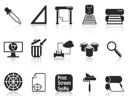 prepress: aislados iconos de tinta negra sobre fondo blanco establecidas Vectores
