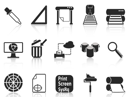 isolated black print icons set on white background