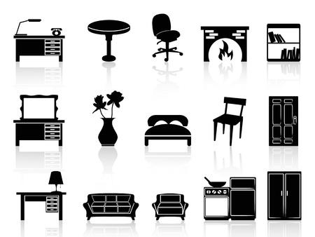 pojedyncze czarne ikonę proste meble z białym tle