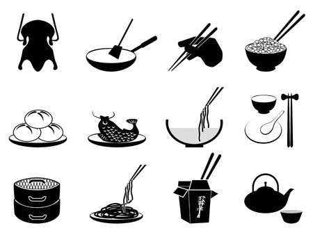isolated black Chinese food icons set from white background