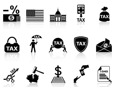 isolated black tax icons set from white background