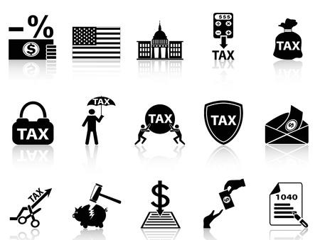 podatek: pojedyncze czarne ikony podatkowe ustalone z białym tle Ilustracja