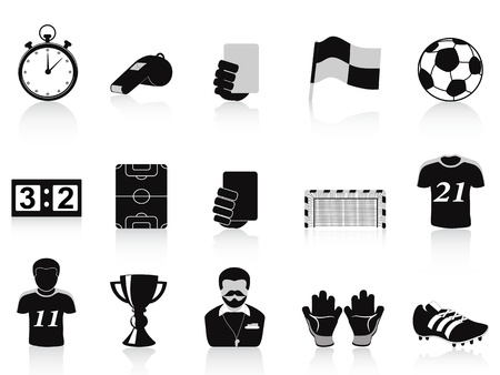 isolated black football icons set on white background Stock Vector - 17233682