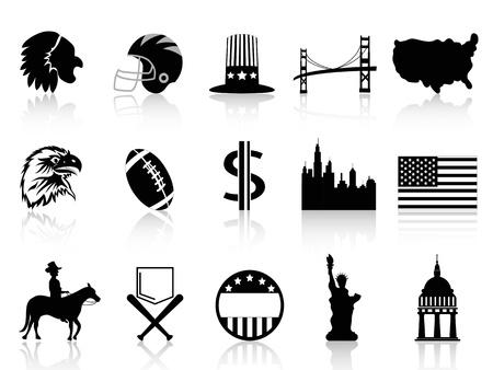 isolated black American symbol icons on white background