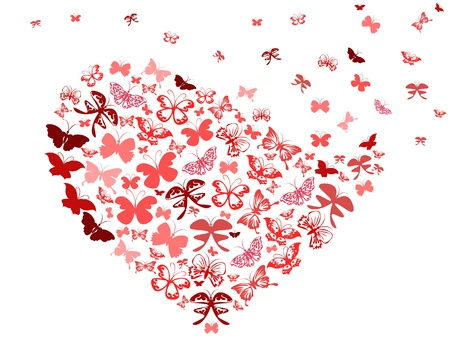 the background of red butterfly heart for Valentine Vector