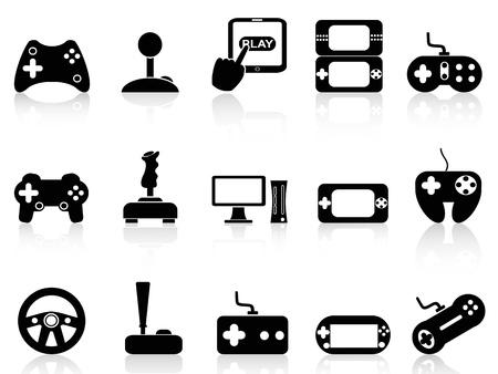 játék: Elszigetelt fekete videojáték-és joystick ikon készlet, fehér, háttér
