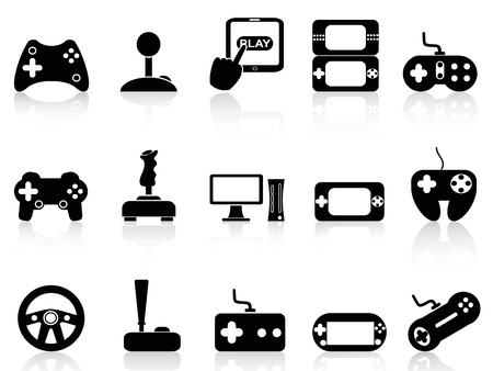 video player: isolated black video game and joystick icons set on white background