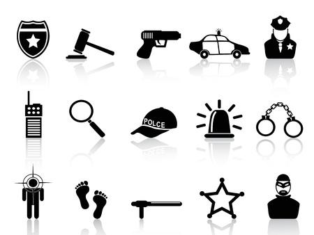 gorra policía: aislados iconos de policía negros fijados de fondo blanco Vectores