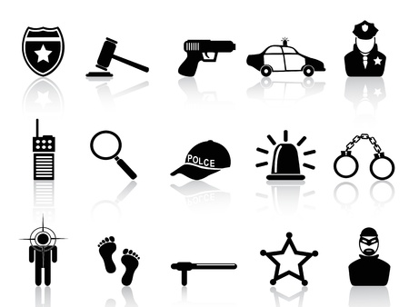 arrest: isolated black police icons set from white background