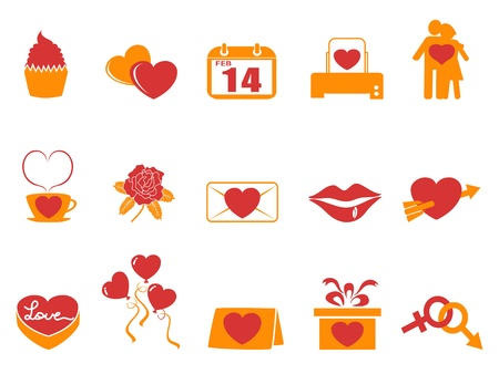 isolated simple color Valentines Day icons,orange series from white background Vector