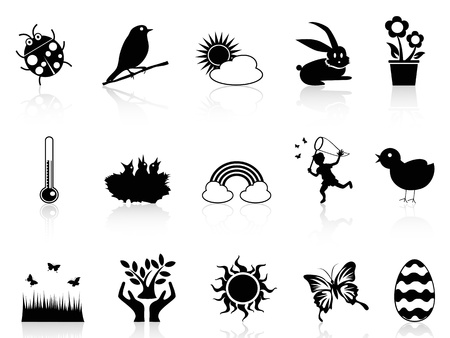 isolated black spring icons set from white background