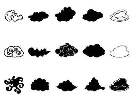 cumulonimbus: isolated cloud symbol icons set from white background Illustration