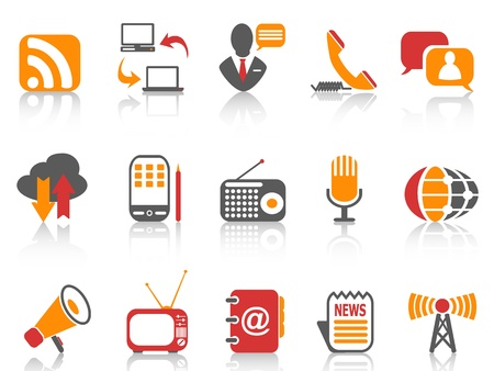 simple  Communication icons set ,orange color series Stock Illustratie