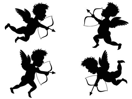 love at first sight: isolated 4 different motions of Cupid  Illustration