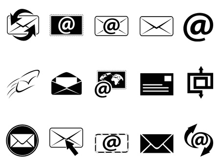 isolated email symbol icons set on white background Stock Vector - 17628092