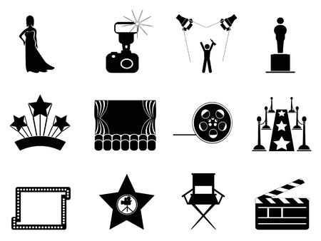 famous industries: isolated movie and oscar symbol icons on white background