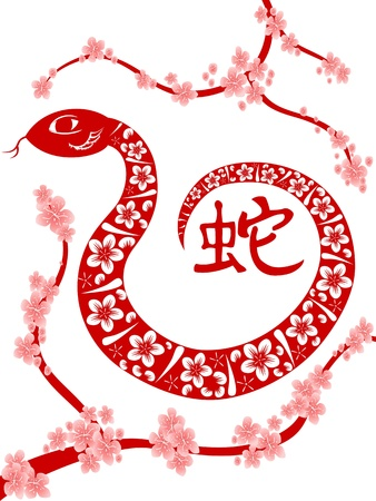 snake calligraphy: the background of Chinese Snake year