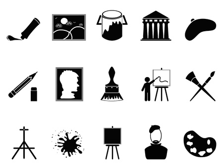 art and craft equipment: isolated artist icons set on white background