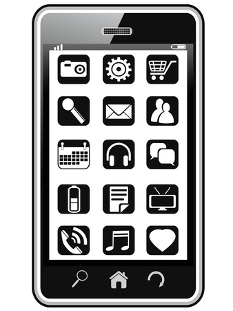 isolated smart phone with icons on the screen Stock Vector - 17968790