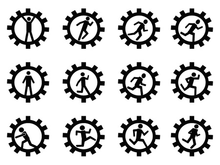 isolated gear man symbol from white background Stock Illustratie