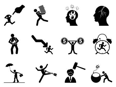 business stress: los iconos del concepto de empresario de menos de Trabajo destac� Vectores