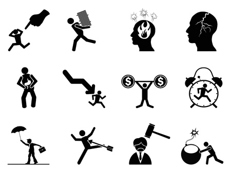 the concept icons of businessman under working Stressed
