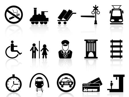 chef d orchestre: isol�s train ic�nes de station et le service sur fond blanc Illustration