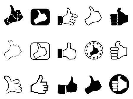 sign up icon: different type of black thumbs up icons on white background