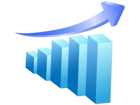 performance improvement: isolated business rising bar on white background