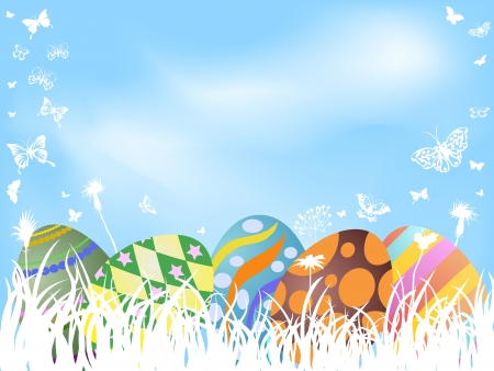 the background of color painted easter eggs hiding in grass   Vector