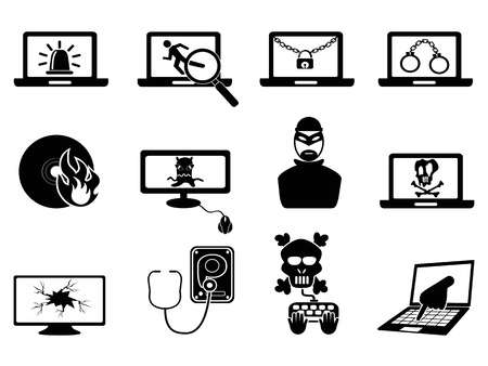 hijack: isolated computer security and Cyber Thift icons from white background