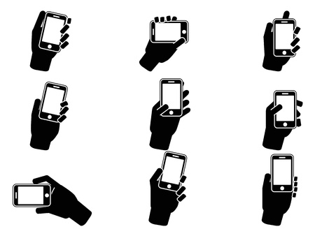 view icon: isolated hand holding smartphone icons from white background