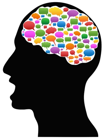 human head with Speech Bubbles in brain Stock Illustratie