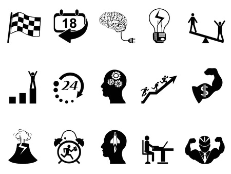 isolated Productive at work icons from white background Stock Illustratie