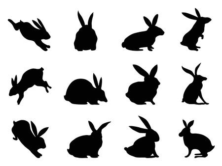 conejo caricatura: siluetas aisladas de conejo negro de fondo blanco