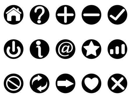 isolated black interface button icons on white background   Vector