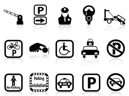 voiture parking: isol�es noir ic�nes de parking sur fond blanc Illustration