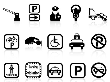 Isolated black car parcheggio icone su sfondo bianco