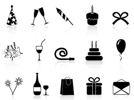 party horn blower: isolated simple black celebration icons set on white background