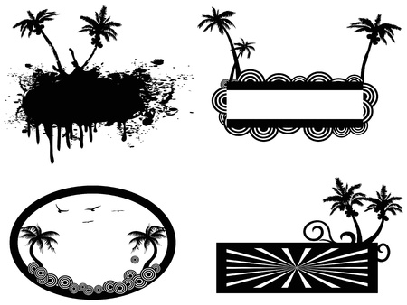 isolated four different style of palm tree frame Vector