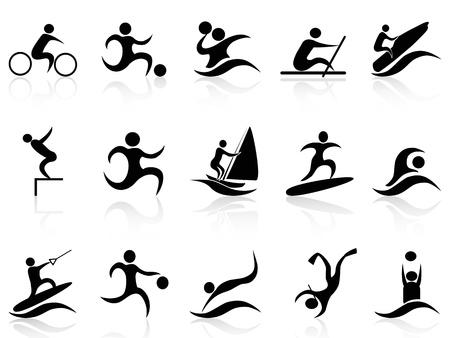 wind surf: aislados iconos verano, deporte, establecidas en el fondo blanco