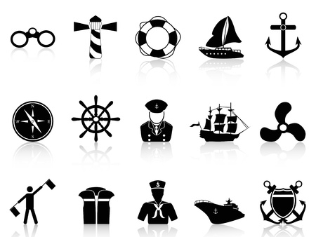 isolated black sailing icons from white background   向量圖像