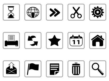 toolbar: isolated black Toolbar and Interface icons buttons on white background