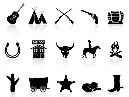 vaquero: aislado negro Wild West Cowboys iconos Conjunto sobre fondo blanco Vectores